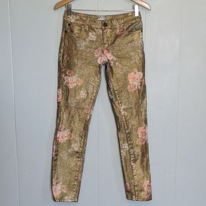 Metallic Gold Floral Rose Jeans